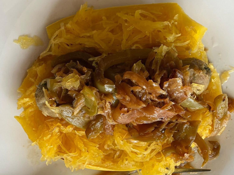 Satisfying, Antiviral, Anti-Inflammatory Paleo/Ketogenic Chicken Sausage Spaghetti Squash with Lots of Onion, Pepper and Sauerkraut!