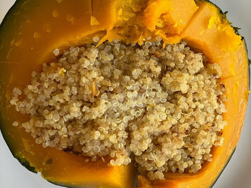 Easy, Simple Steamed Butternut Squash and Quinoa
