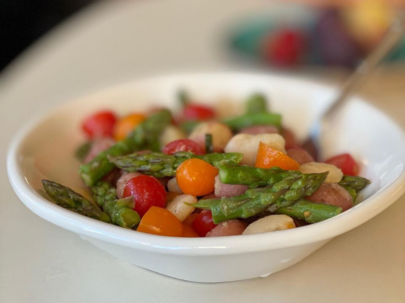 Meatless Monday Fresh Summer Meal with Abundant Fresh Veggies with Marinated Lima Beans, Garlic Roasted Potatoes, Asparagus, and Colorful Cherry Tomatoes!