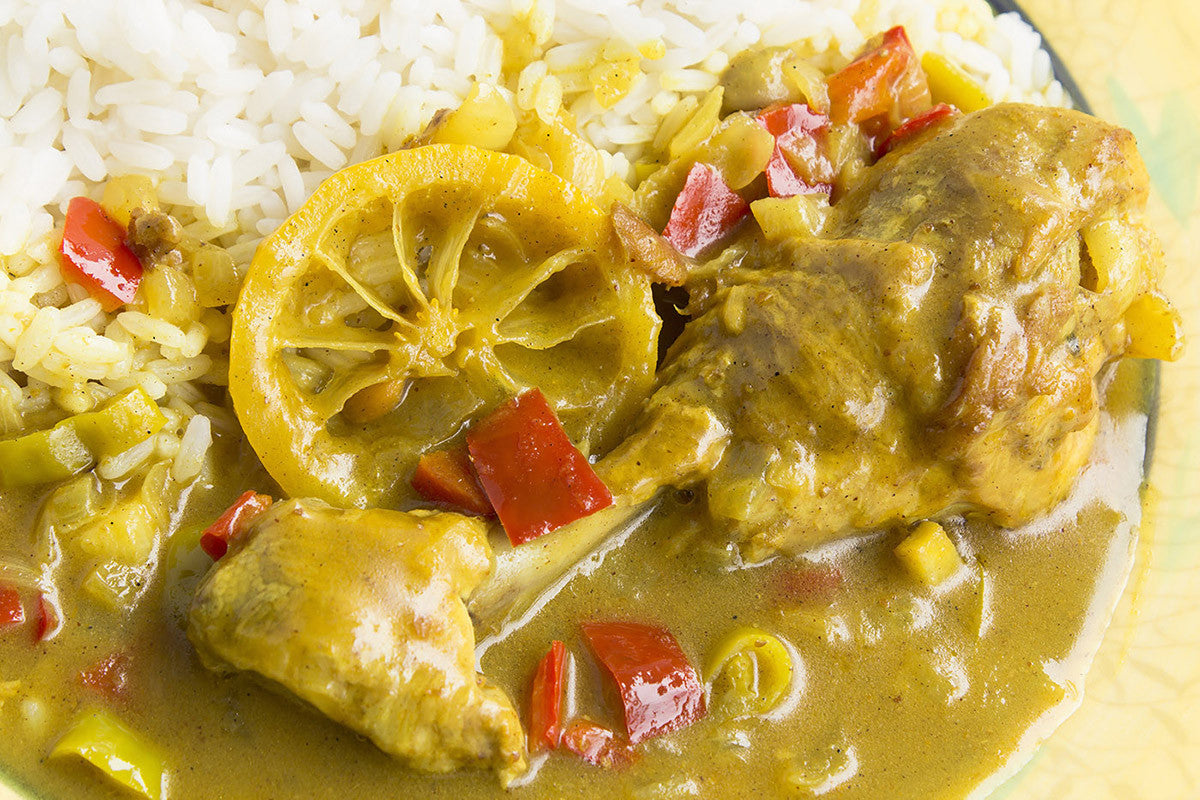 Lemony Curry Chicken with Vegetables--Cooked to Perfection in Clay!