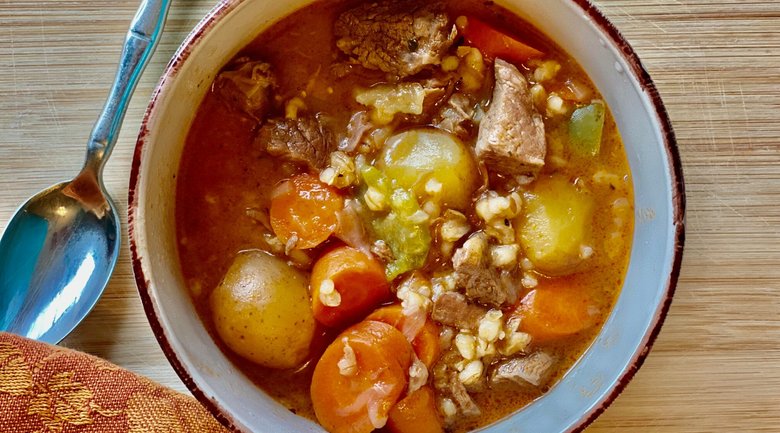 Slow Cooker Grass-fed Beef Barley Potato Soup Recipe in Just 2 Hours