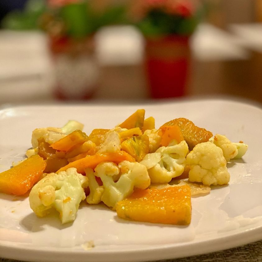 Savory Sweet Roasted Cauliflower and Pumpkin in 20 minutes