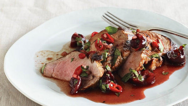 Pork Tenderloin Cooked to Perfection with a Spiced Chocolate Cherry Glaze