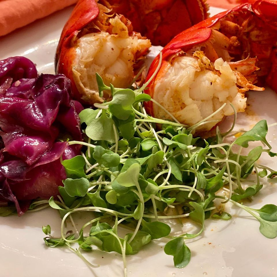 Steamed Lobster Tails with Greens Veggies