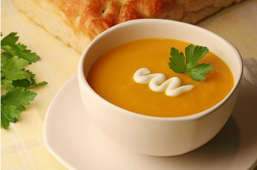 Pumpkin Soup with Lime Drizzle.