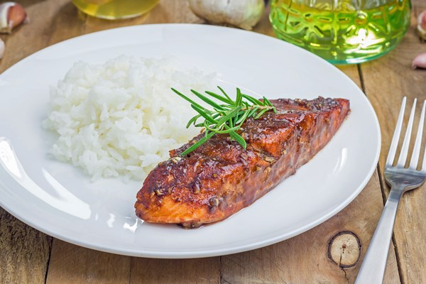 Asian-Inspired Miso Glazed Salmon Filets over Rice