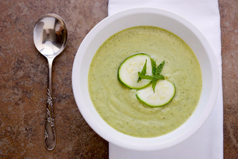 PEA, ZUCCHINI, AND MINT SOUP