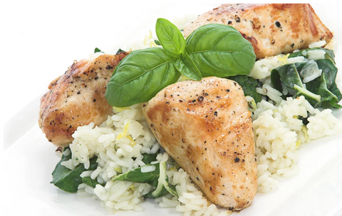 BASIL CHICKEN SPINACH RICE