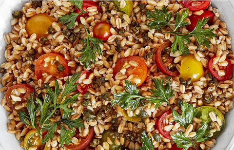 FARRO-AND-TOMATO SALAD WITH CRISPY CAPERS
