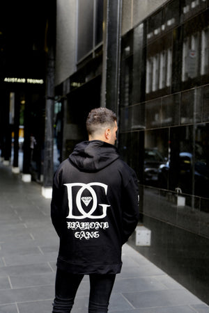DIAMOND GANG - V2 CROSSOVER HOODIE - BLACK