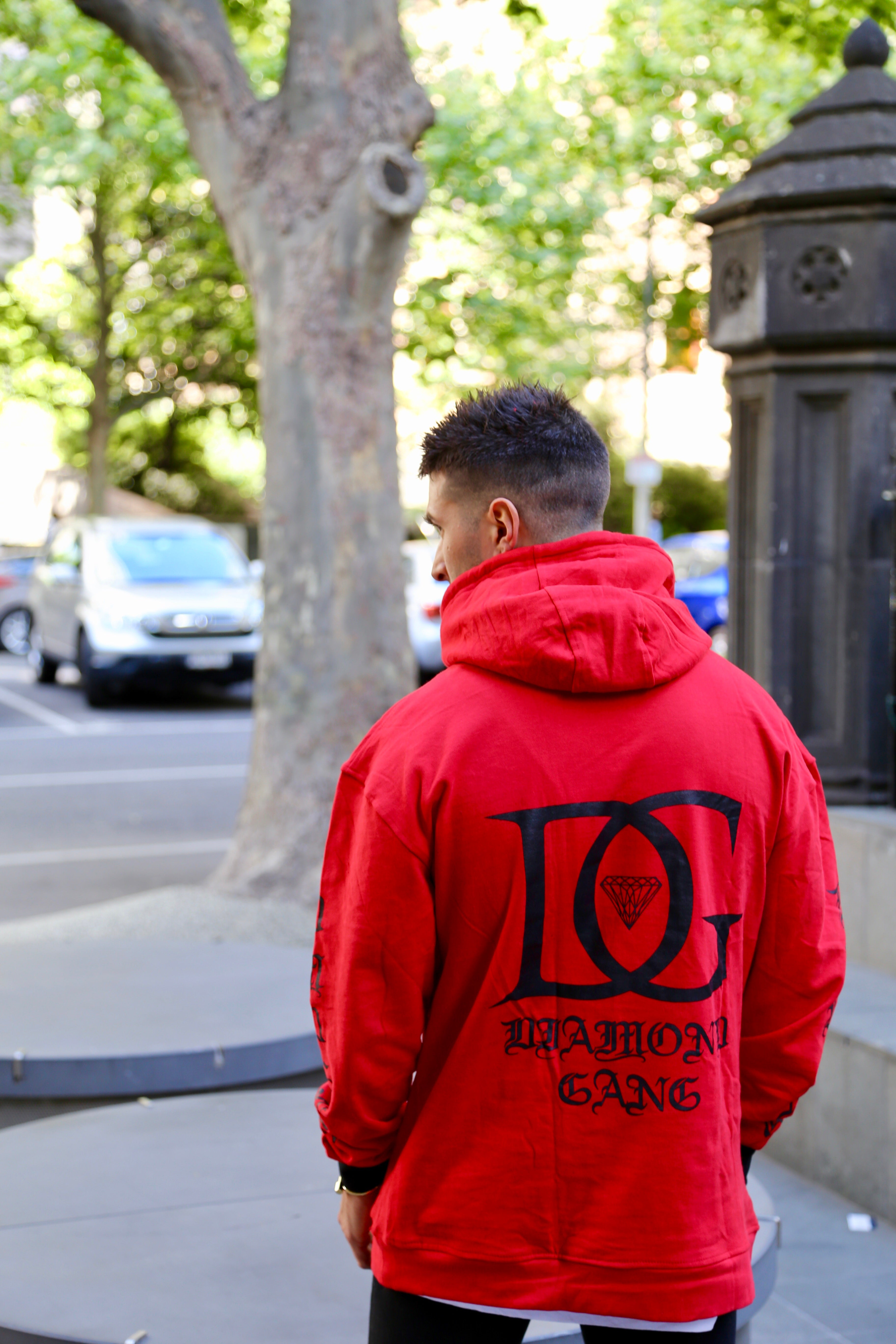 DIAMOND GANG - V2 CROSSOVER HOODIE - RED