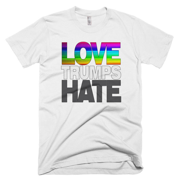 Rainbow Love Trumps Hate protest t-shirt