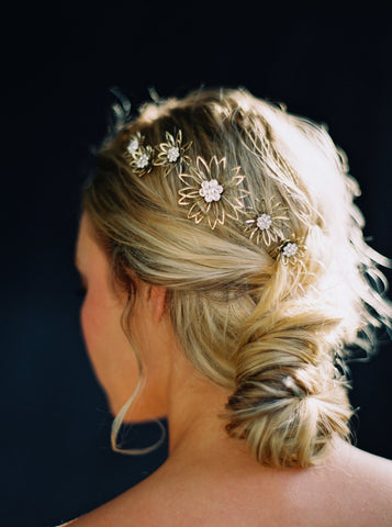 Gold and Rhinestone Daisy bridal comb