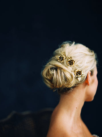 Gold Rose hair pins