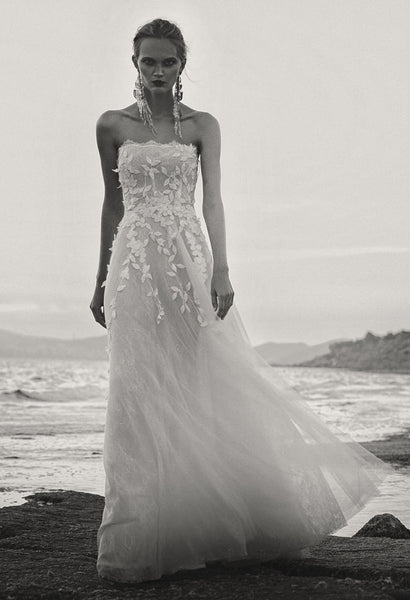 A line wedding dress by Costarellos Floral Tulle Mini Gown