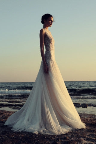 Flowy tulle A line wedding dress by Costarellos