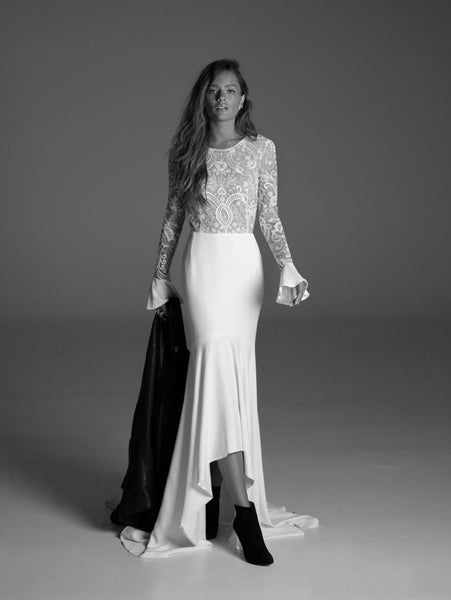 Lace top wedding dress with bell sleeves by Rime Arodaky
