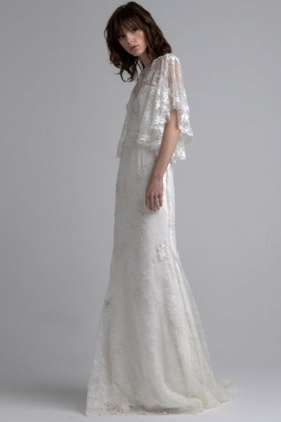 Flowy sleeves with a-line silhouette wedding dress by Sachin and Babi
