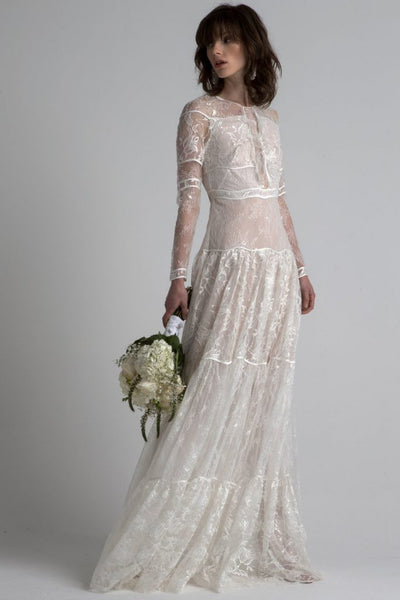 All over lace long sleeve wedding gown by Sachin & Babi