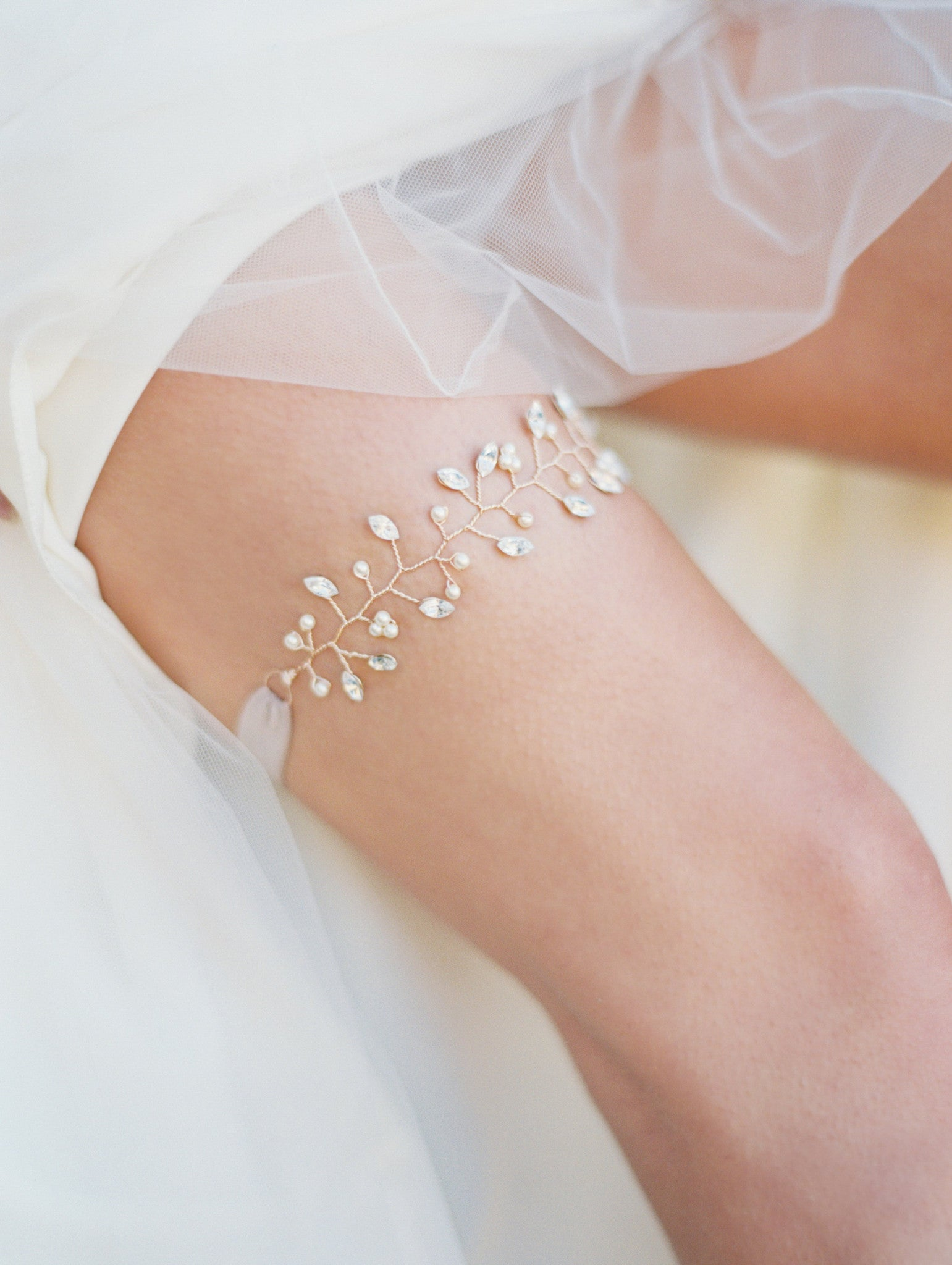 Rose Blush Rhinestone & Pearl Twig Wedding Garter