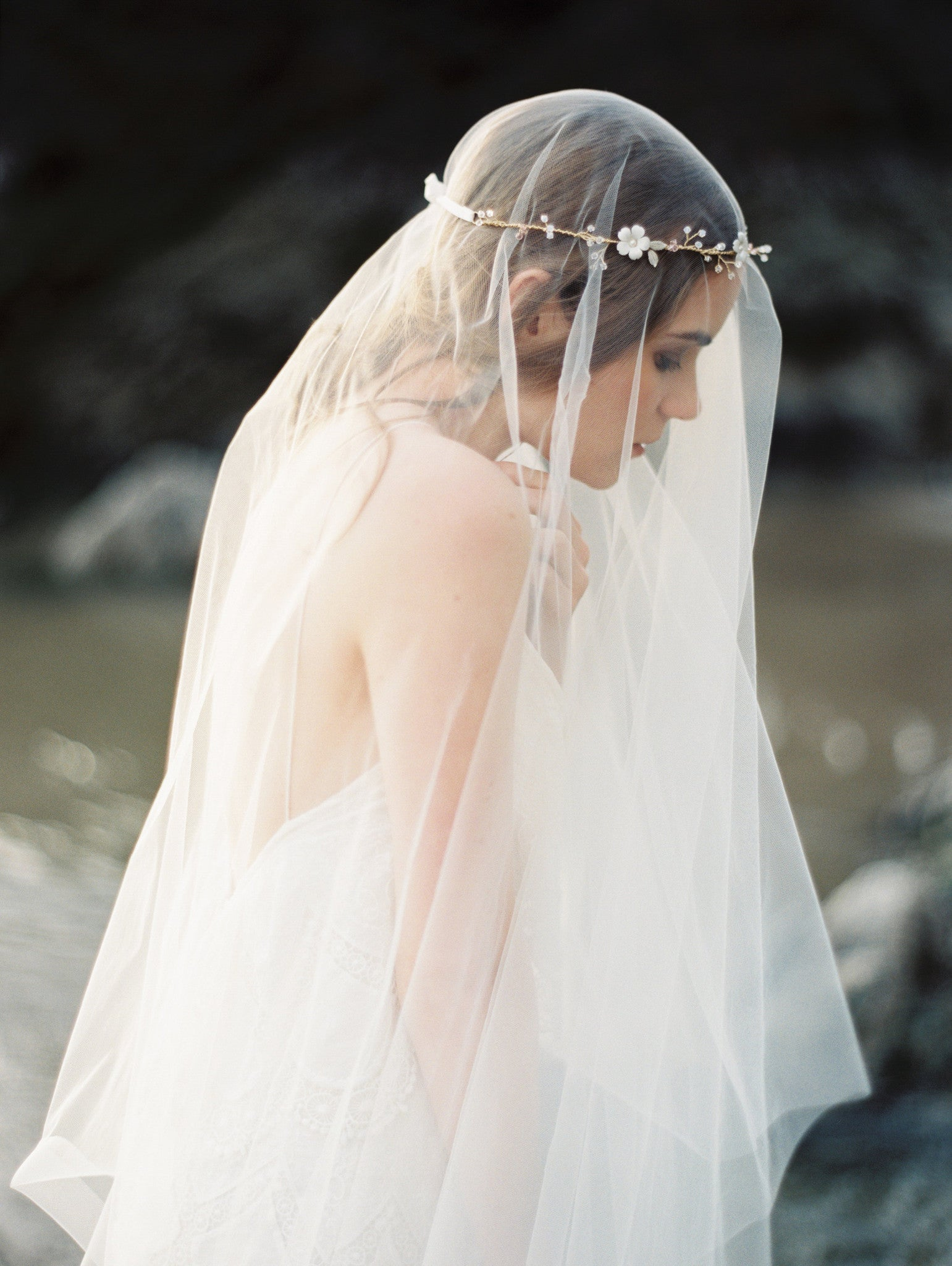 Fingertip Length Drop Bridal Wedding Veil