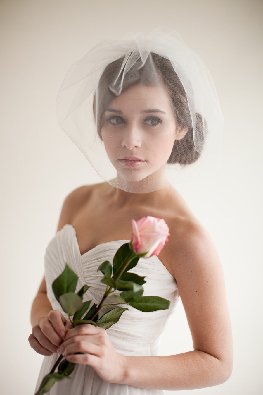 Double Layer Tulle Blusher Wedding Veil