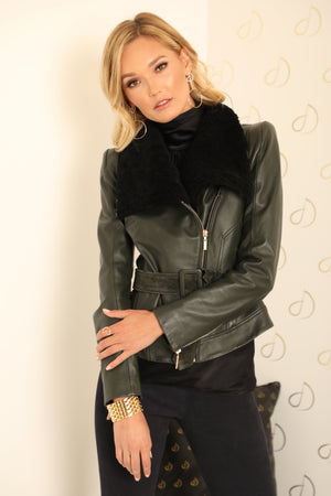 Aria Green Leather Jacket
