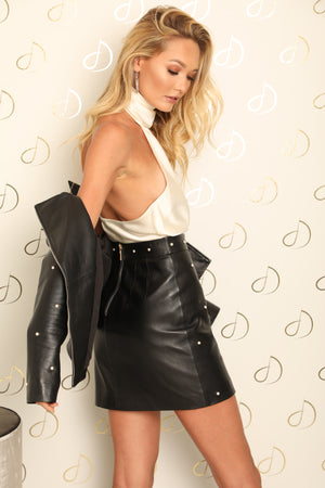 Nicola Pearl Leather Skirt