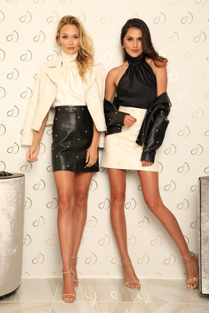 NICOLA PEARL LEATHER SKIRT - IVORY