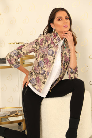 Fia Floral Leather Jacket