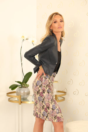 Fia Floral Leather Skirt