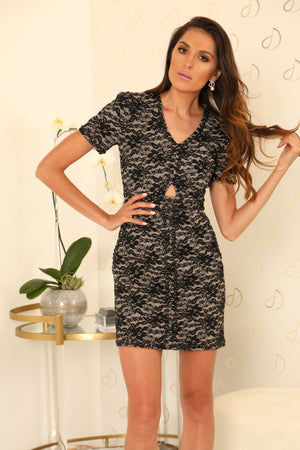 Aria Lace Bonded Leather Dress