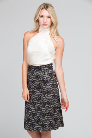 Arlo Lace Bonded Leather Skirt