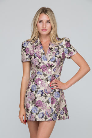 Francessa Floral Leather Coat Dress