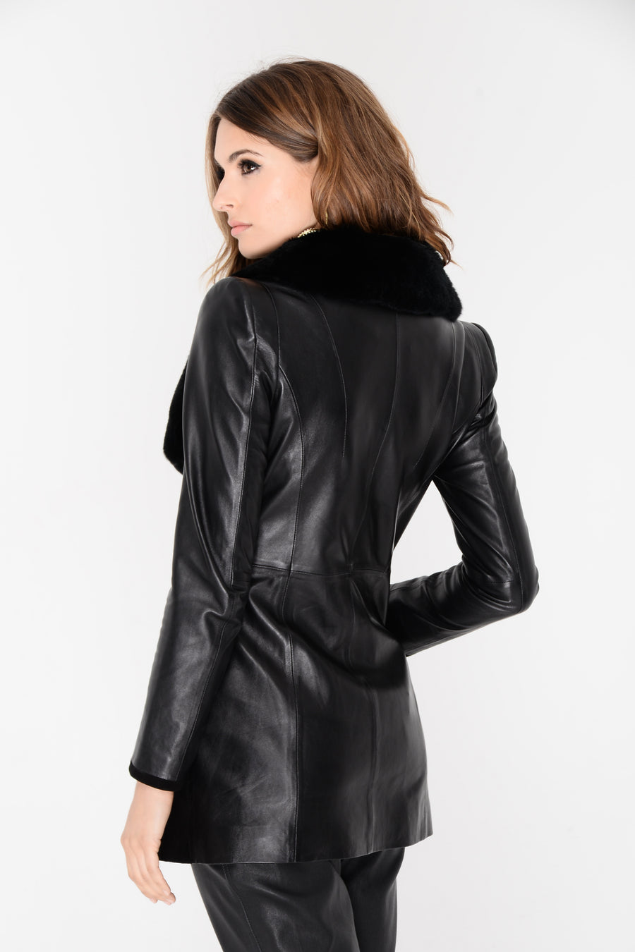 Marie Leather Suede Fur Coat