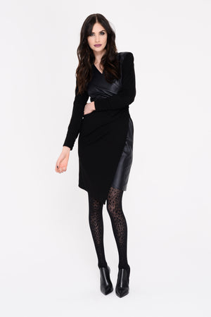 Vienna Ponti Leather Wrap Dress