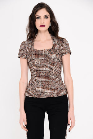 Roma Tweed Leather Top