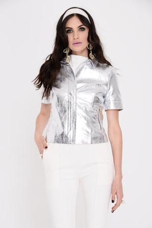 Selena Silver Leather Jacket