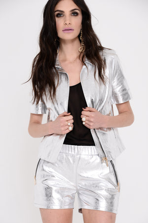 Selena Silver Leather Shorts