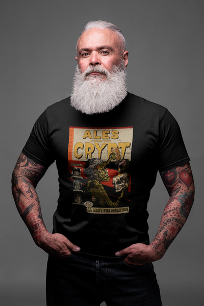 Ales from the Crypt Beer T-Shirt on Big Guy with Beard