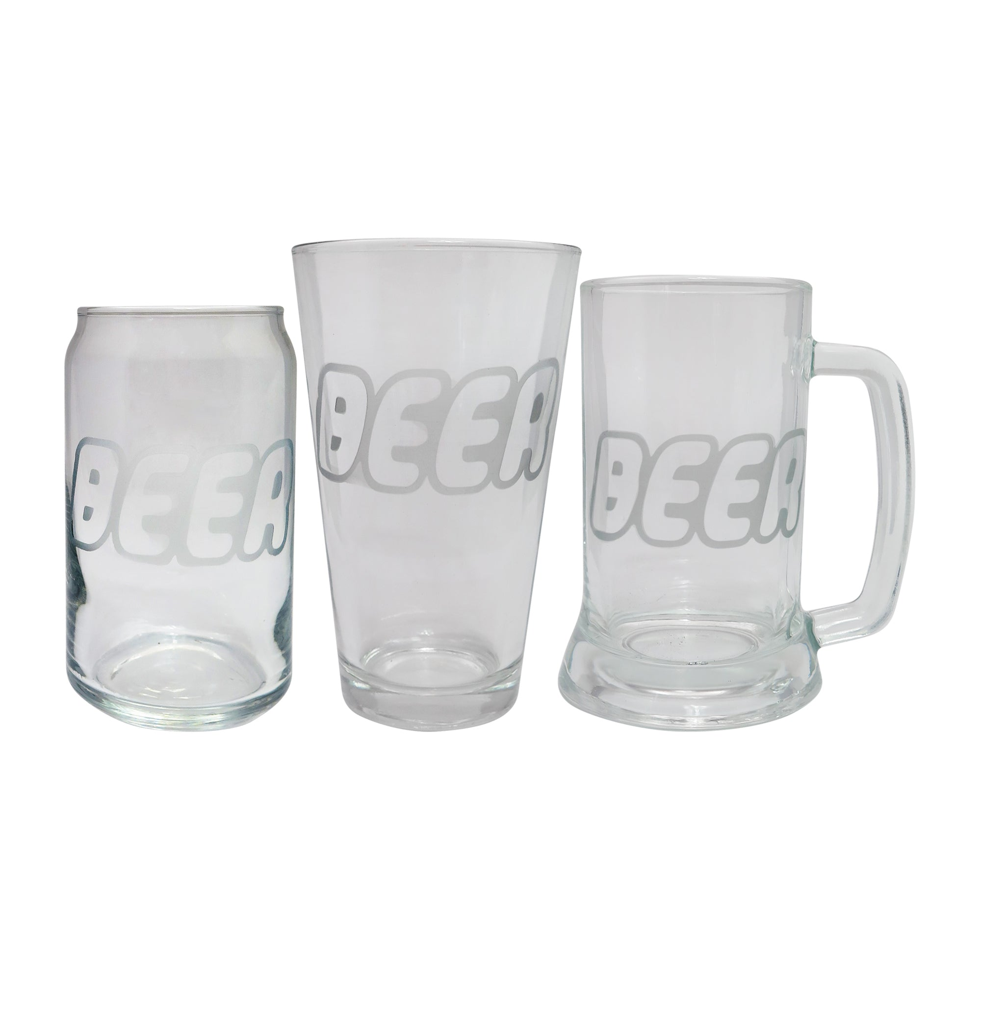 Beer Brick Etched Beer Glass