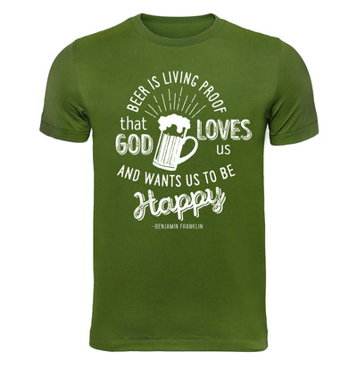 Beer is Living Proof Green T-Shirt Flat