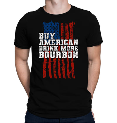 Buy American, Drink More Bourbon T-Shirt on Model