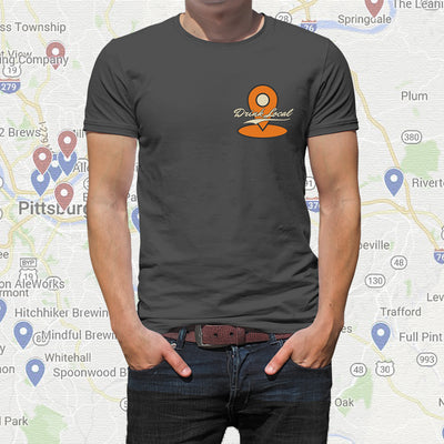 Drink Local Craft Beer T-Shirt with Google Map