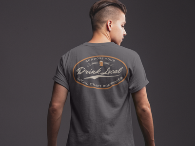 Drink Local Craft Beer T-Shirt on Model Back