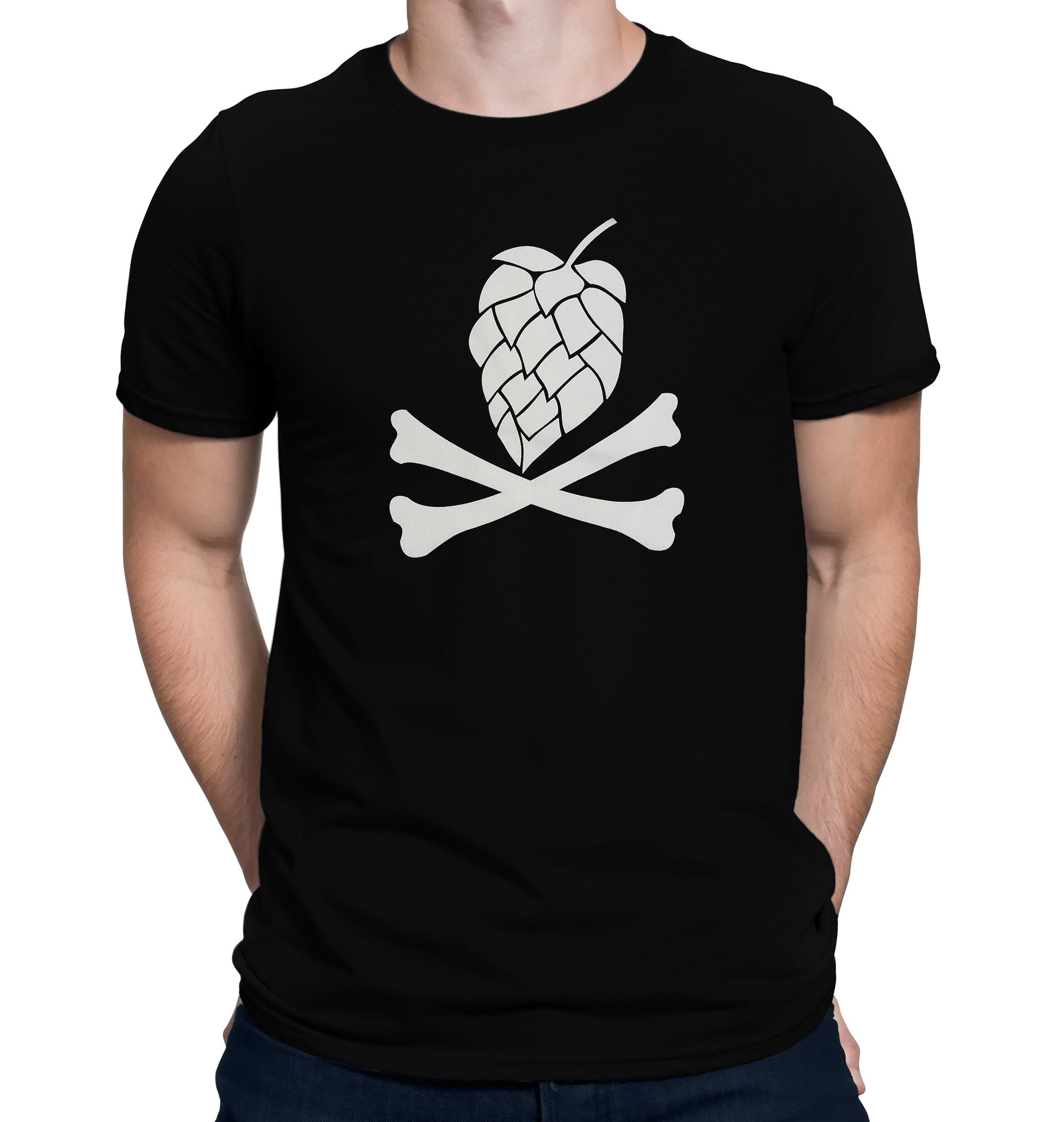 Hops and Crossbones Craft Beer T-Shirt on Model