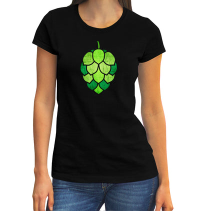 Women's Stained Glass Hop Cone T-Shirt on Model