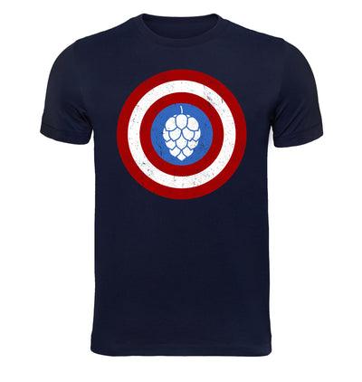 Captain Hop Cone America Shield Beer T-Shirt Flat