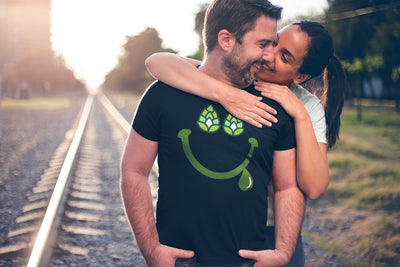 Hoppy Happy Smile Beer T-Shirt with Girlfriend Action Shot