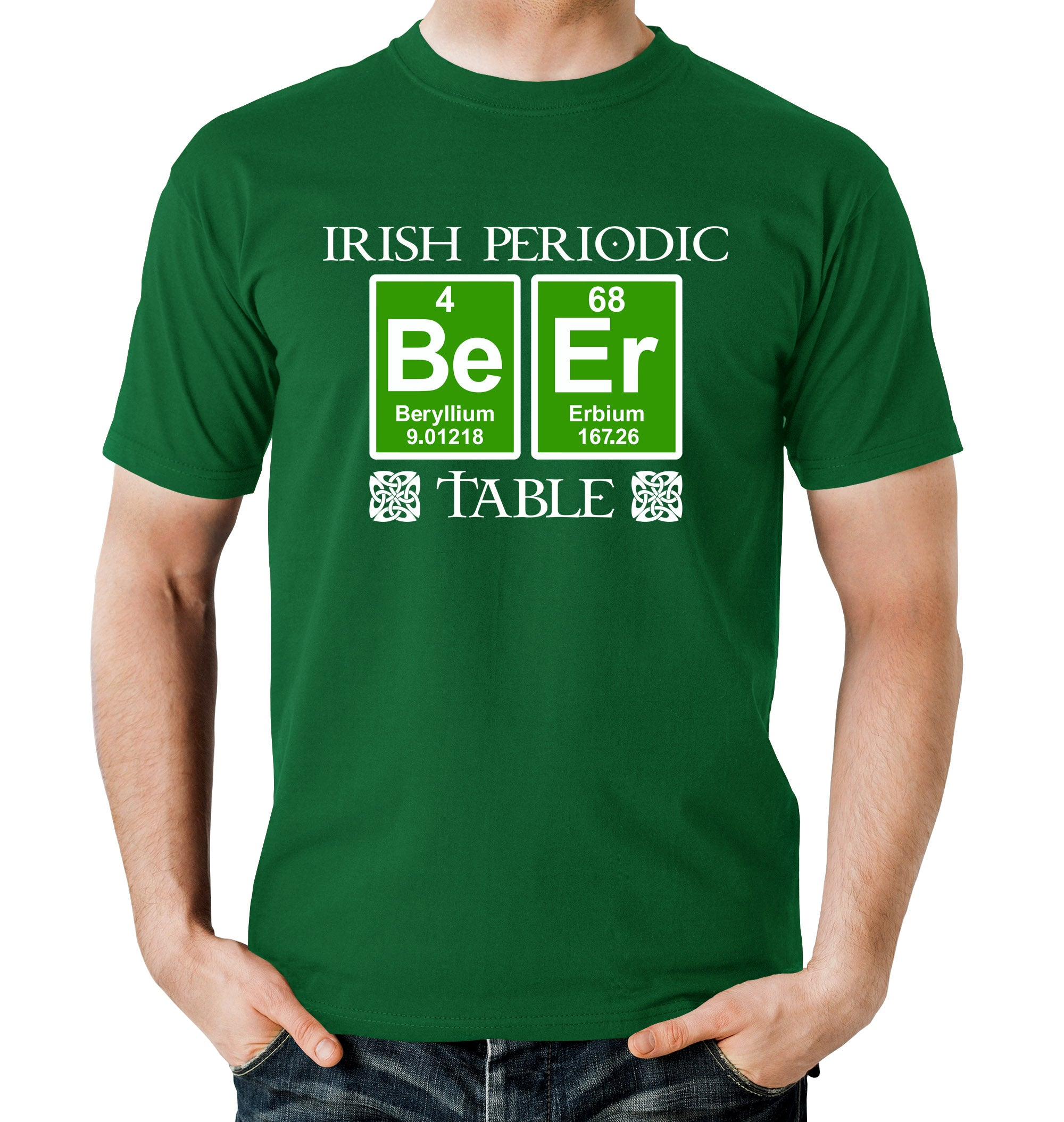 Irish Periodic Table St. Paddy's Day Beer T-Shirt on Model